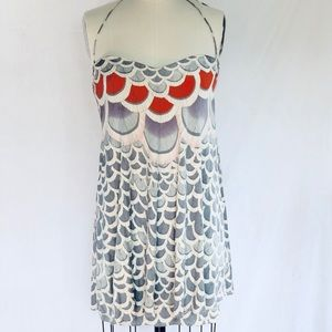 Mara Hoffman Feather Print Halter Mini dress S